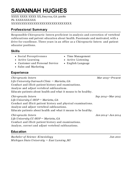View Resume Chiropractic Intern