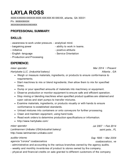 View Resume. Mixer Operator