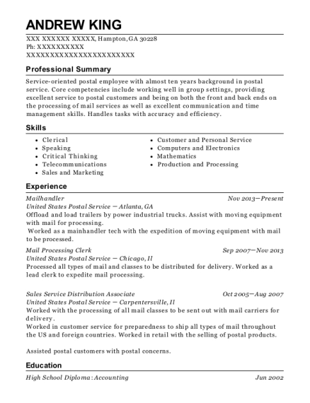 usps mailhandler resume sample roseville california resumehelp
