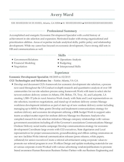 View Resume. Economic Development Specialist