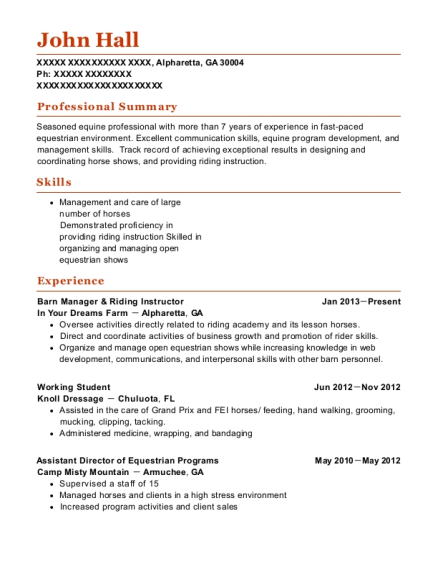 resume for working student