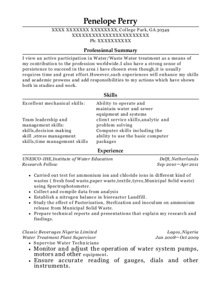 Best Water Treatment Plant Supervisor Resumes Resumehelp