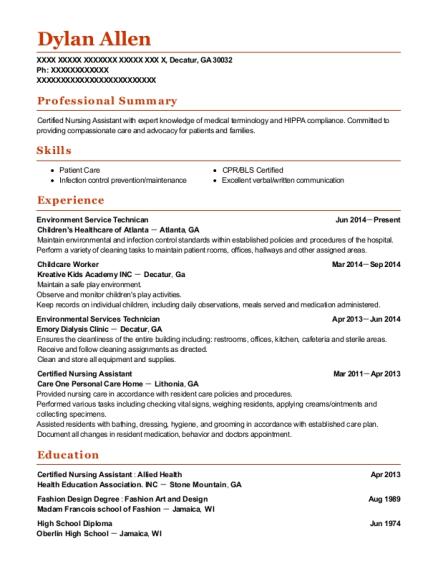 Environmental Services Technician , Facilities. Customize Resume · View  Resume
