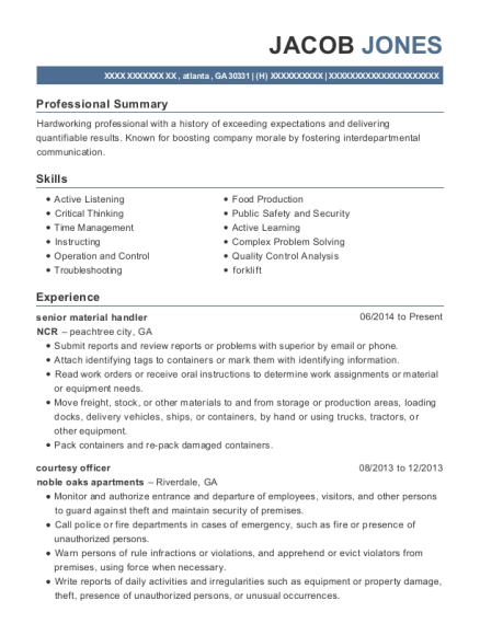 View Resume. Senior Material Handler
