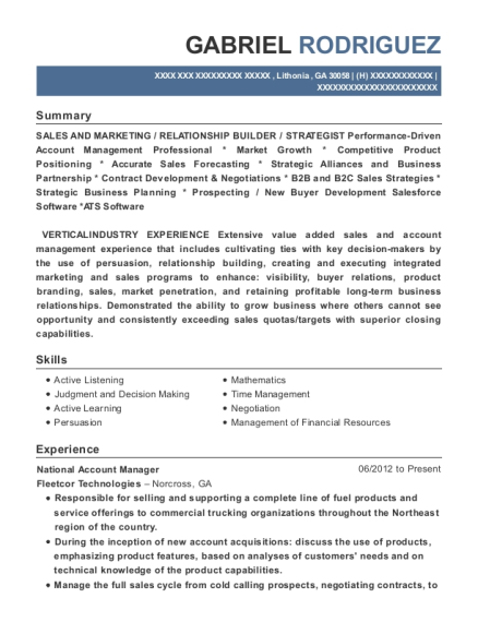 View Resume. National Account Manager