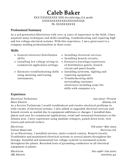 View Resume. Electrical Technician  Electrical Technician Resume