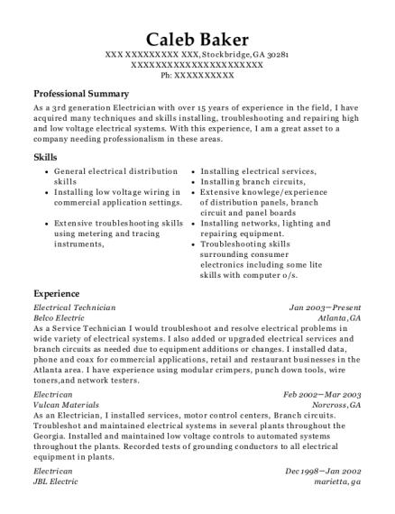 best electrical technician resumes resumehelp rh online resumehelp com panel wiring technician job description Automotive Technician Resume Examples