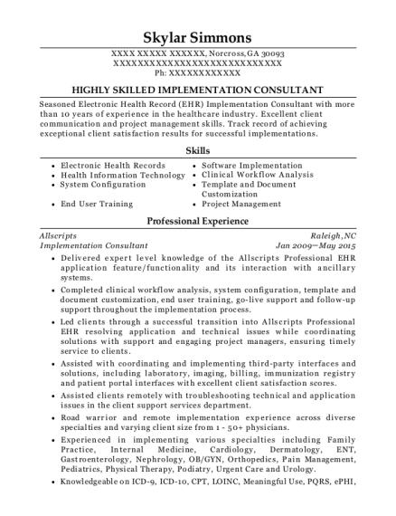 Allscripts Implementation Consultant Resume Sample - Norcross ...