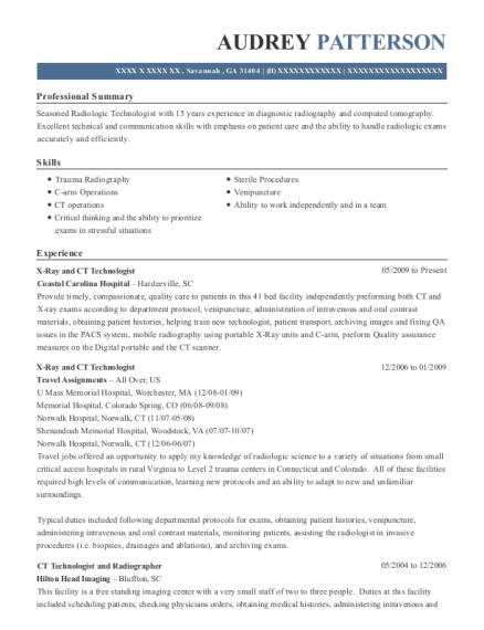 best ct technologist resumes