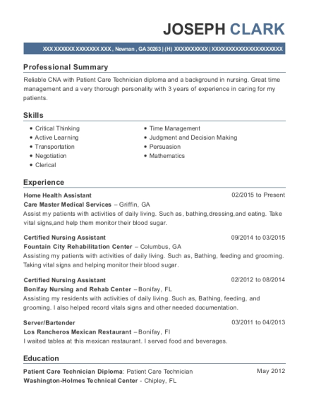 Care Master Medical Services Home Health Assistant Resume Sample ...