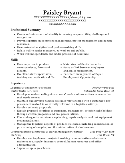 United States Air Force Logistics Management Specialist Resume ...