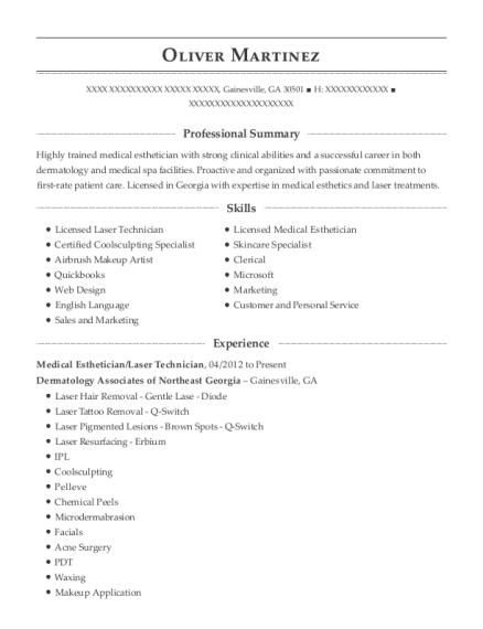 Best Medical Esthetician Resumes Resumehelp