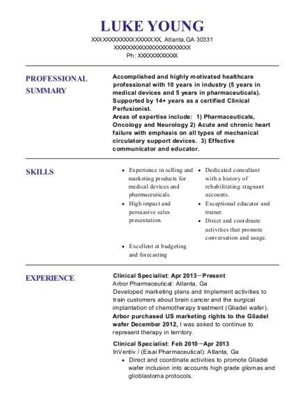 View Resume. Clinical Specialist