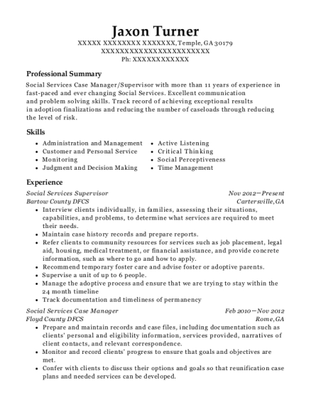 resume for social services