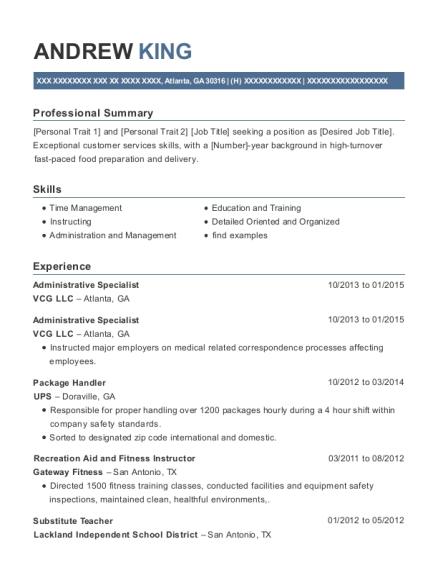 Vcg Llc Administrative Specialist Resume Sample - Atlanta Georgia ...