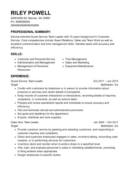 team leader skills resume