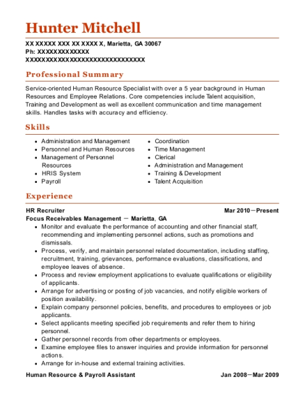 human resource specialist resume