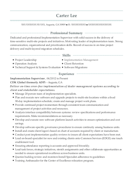 Progress Energy Of Florida Implementation Supervisor Resume Sample ...