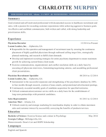 charlotte murphy - Physician Recruiter Resume