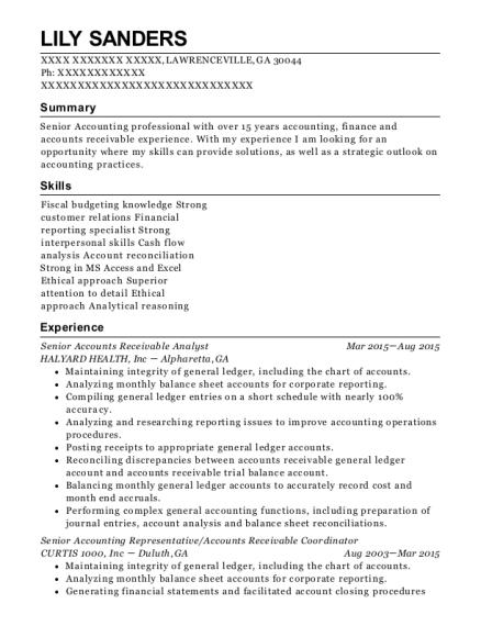 Good View Resume. Senior Accounts Receivable Analyst