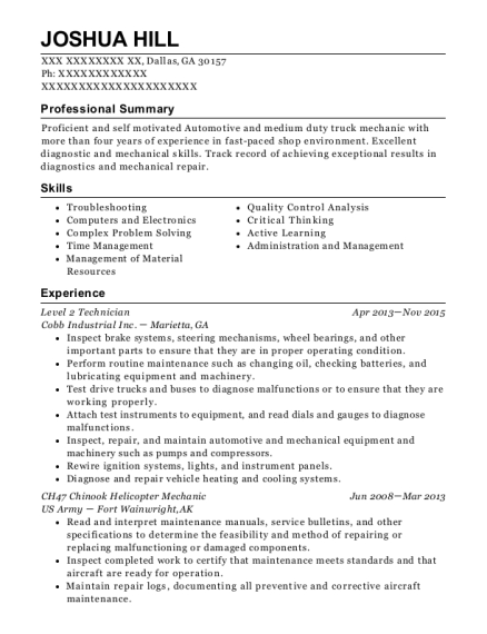 best level 2 technician resumes