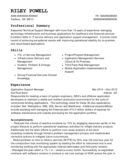Suntrust Bank Application Support Manager Resume Sample - Fairburn ...