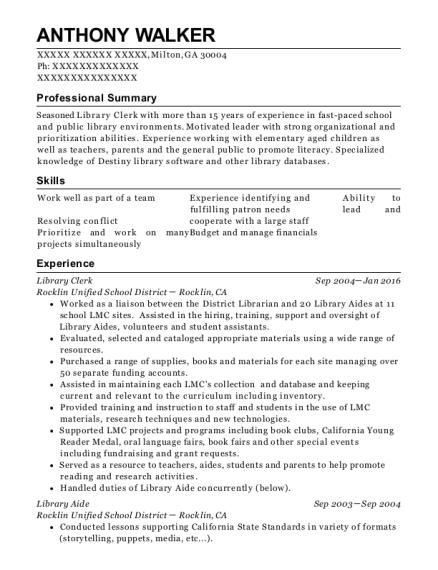 anthony walker - Library Attendant Sample Resume