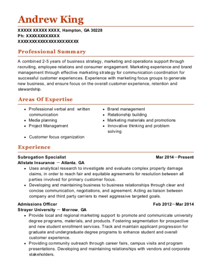 View Resume. Subrogation Specialist
