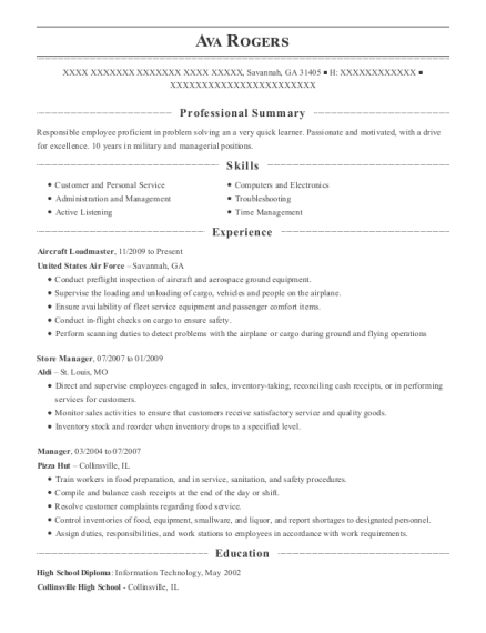 United States Air Force Aircraft Loadmaster Resume Sample - Savannah ...