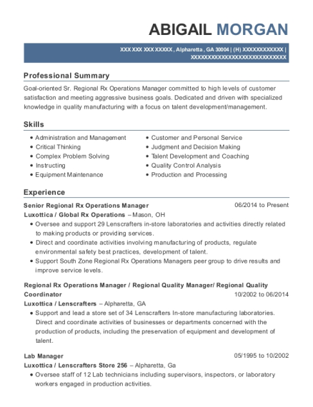 Luxottica Senior Regional Rx Operations Manager Resume Sample ...