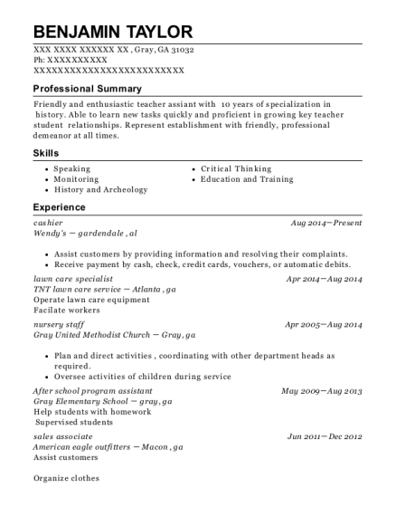 Best After School Program Assistant Resumes ResumeHelp