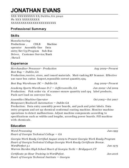 Best Buy Merchandiser Processor Production Resume Sample - Dublin ...