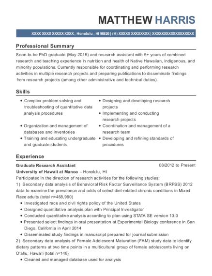 Colorado State University Graduate Research Assistant Resume Sample