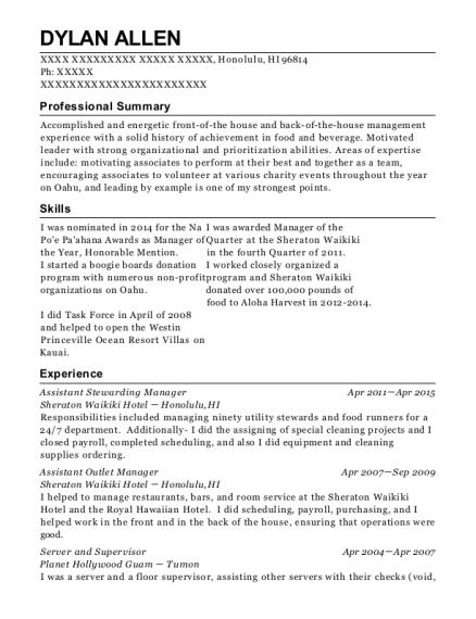 Best Assistant Stewarding Manager Resumes | ResumeHelp