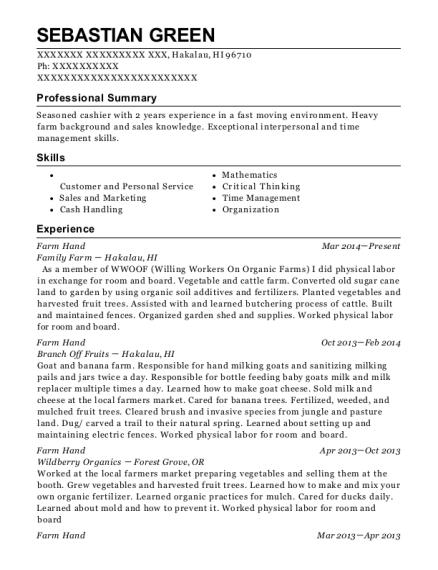 sebastian green - Sandwich Maker Resume