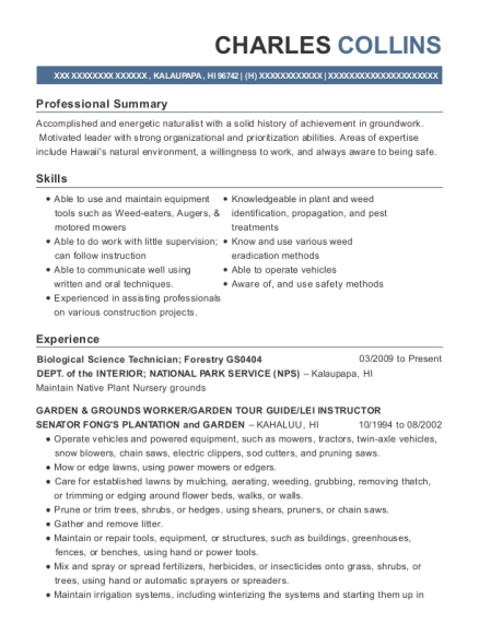 View Resume. Biological Science Technician ...