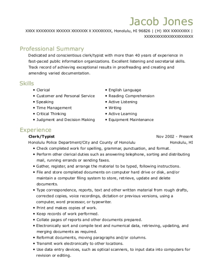 view resume clerktypist - Typist Resume
