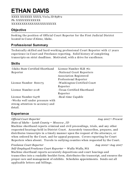 ethan davis - Court Reporter Resume Samples