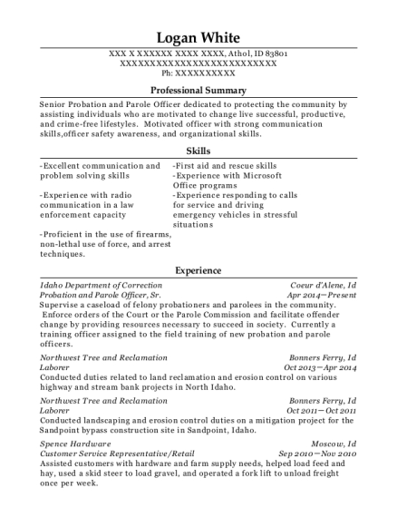 Best Probation And Parole Officer Resumes