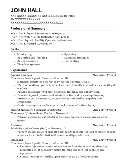 Lifetime Fitness Aquatic Manager Resume Sample - Round Rock Texas ...