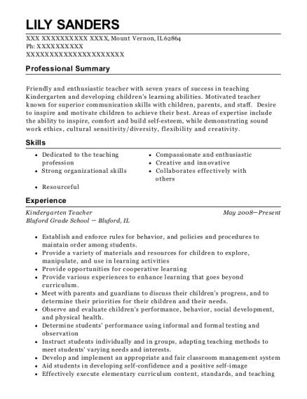 best kindergarten teacher resumes resumehelp