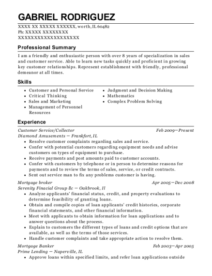 gabriel rodriguez - Mortgage Broker Resume Sample
