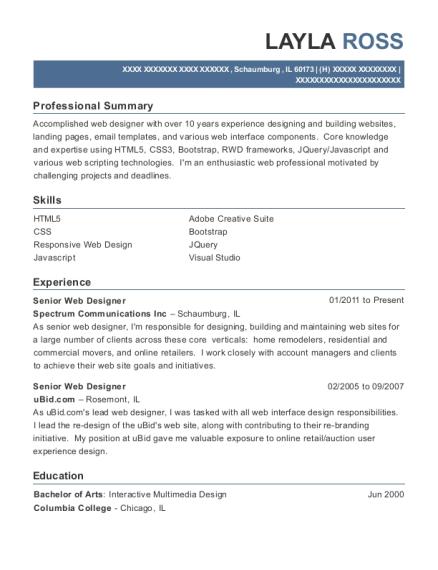 Spectrum Communications Inc Senior Web Designer Resume Sample ...