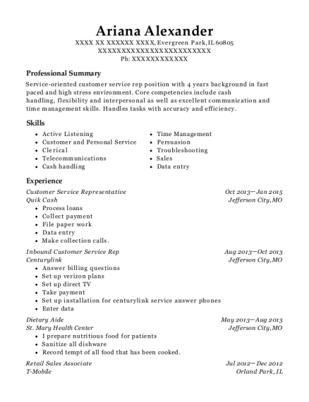 inbound customer service resume