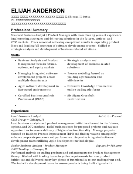View Resume Lead Business Analyst