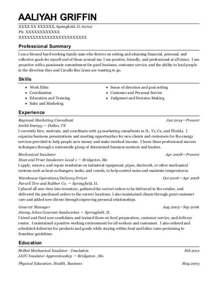 Ambit Energy Regional Marketing Consultant Resume Sample ...