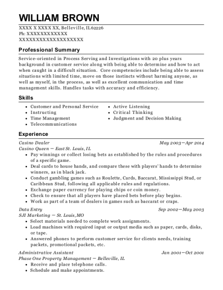 People also search for. Customize Resume  View Resume. Casino Dealer