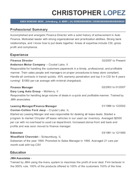 view resume finance director - Leasing Manager Resume