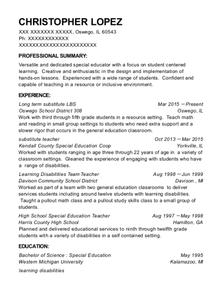 view resume - Special Education Teacher Resume