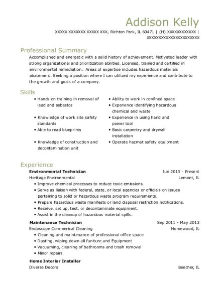 View Resume. Environmental Technician